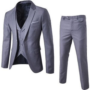 3 Pieces Business Blazer +Vest +Pants Suit Sets Men Autumn Fashion Solid Slim Wedding Set Vintage Classic Blazers Male Suit