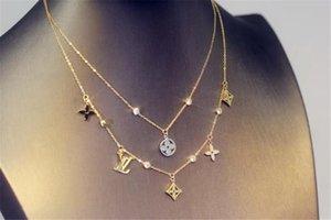 New Hot acier titane marque collier simple concepteur bracelet fleur lettre or rose colliers en argent peuvent être gros
