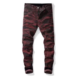 Recta de diseño vaqueros para hombre holes larga para hombre Dye Stretch Jeans mediados de cintura regular Distrressed Hombre Ropa