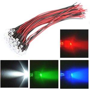 50pcs DC 12V bulbos de lámpara de decoración LED brillante largo de 5 mm de coches del vehículo con el alambre