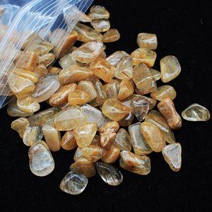 1 bolsa de 100 g Natural cabello dorado rutilated cristal de cuarzo Piedra Tumbled piedra irregular (Tamaño: 7--9 mm)