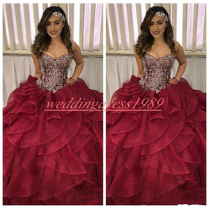Sweet 16 Ruffle Crystal Beads Quinceanera Dresses Ball Tiers 2019 Organza Plus Size Long Girl Prom Party Dress Formal Gowns Sweep Length