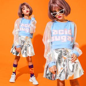 Enfants Hip Hop Jazz danse Vêtements Jupes pour filles Salle de bal Costumes de danse Crop Lace Tops Argent PU Jupes Dance Show costumes Porter