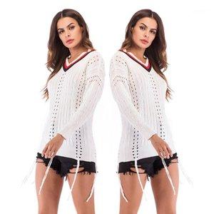 Slim Pullover femminile maglioni di modo delle donne con scollo a V maglioni Primavera Autunno con pannelli Hollow Vestito per Ragazze