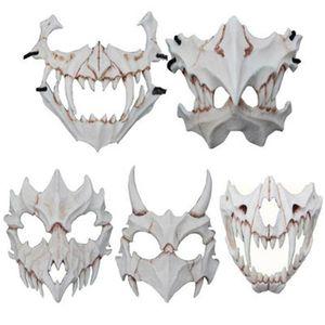 Atacado Fierce Tiger Mask Deus Dragão Yaksha Terror máscaras faciais Maquiagem Resina Halloween Party amigável Eco Abastecimento 61ax H1