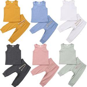 0-24M Newborn Kid Baby Girl Boy Solid Romper Top Vest + Pants Leggings Outfit Set Clothes