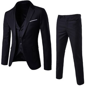 Luxury Men Wedding Suit Male Blazers Slim Fit Suits For Men 3-Piece Suit Blazer Business Wedding Party Jacket Vest & Pants