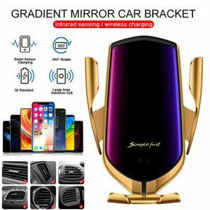 R1 Factory Store sem fio automático de fixação Smart Car Sensor Phone Holder e rápida rápida Carregador 10W Fast Car carregador de telefone
