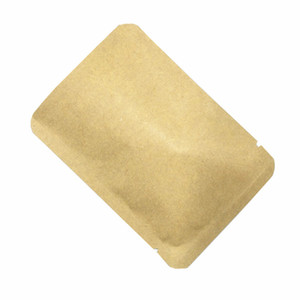 2000pcs / lot Brown Papel Kraft Papel de aluminio Open Top Food Packaging sellado térmico bolsa plana Mylar caramelo bolsas del embalaje del bocado de vacío de almacenamiento