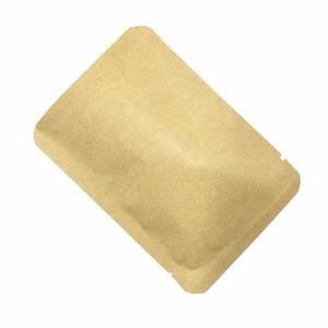 2000pcs / lot Brown Kraft Paper Aluminiumfolie Open Top Lebensmittel Verpackung Beutel Heißsiegelflach Mylar Folie Süßigkeit Snack-Vakuumspeicher-Verpackungs-Beutel