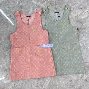 High-End-Frauen Mädchendenimhemdkleid Jacquard-Monogramm Buchstaben Jacquard Ärmel a-Linie Minirock 2020 Art und Weise Weste Kleider