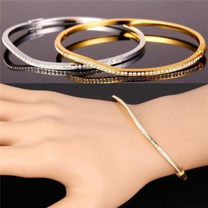 Clear Austrian Rhinestone Jewelry for Women Platinum 18K Real Gold Plated Casual Style Irregular Bangle Bracelet
