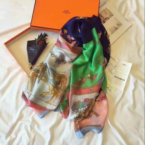 Высококачественный высококачественный дизайнерский шарф из шелка, модная женская весна и лето, новый печатный шарф 180 * 90см D001