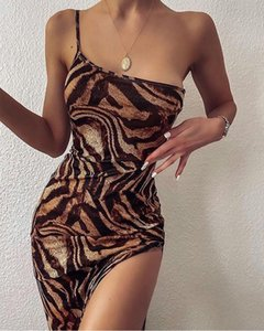 Summer Womens Bodycon Dresses Sexy Leopard Printed Spaghetti Strap One Shoulder Hollow Out Split Dress Fashion Female Clothing