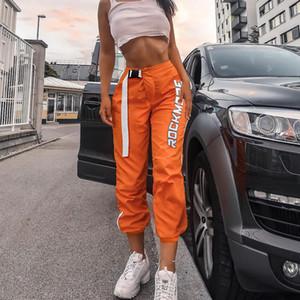 Streetwear Kargo Pantolon Kadın Rahat Joggers Turuncu Yüksek Bel Gevşek Kadın Pantolon Kore Tarzı Bayanlar Uzun Pantolon Capri
