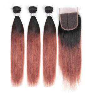 # 1B / 33 Dark Auburn Ombre Indian Hair 3 حزم مع إغلاق مستقيم النحاس الأحمر الشعر البشري حزم مع إغلاق لحمة نسج البني المحمر