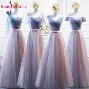 Beauty-Emily Sexy V Neck Tulle Long Bridesmaid Dresses For Wedding Party 2020 Wedding Guest Party Dress Vestido de Festa Longo T200604