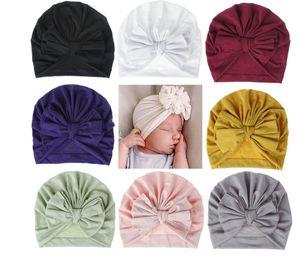 18 couleurs Chapeau bébé Coton Bonnet Bow Turban Chapeau bébé Photographie Props enfants Bonnet bébé Accessoires Cap bébé pour les filles Boy Chapeaux enfant