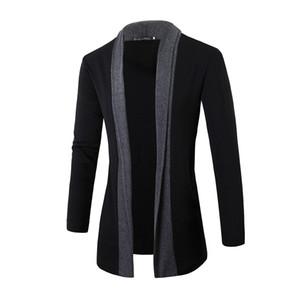 Мужчины'S весна осень Cardigans нагрудные Длинные рукава Трикотажные свитера Бизнес Повседневный стиль New Cardigans Sweatercoat Мужской T200502