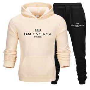 BALENCIAGA hommes Survêtement capuche imprimé mode pantalons de survêtement teengers costumes sport hommes de jogging étudiant style tenue décontractée d'automne de jeu