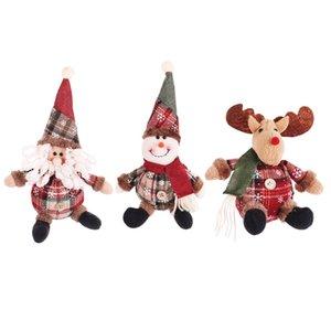 Ornement de Noël Cartoon Poupée flocon de neige Plaid Père Noël Elk Doll Navidad Pendant Nouvel An Cadeaux Enfants JK1910