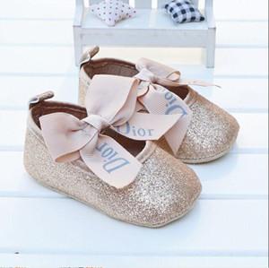 Bebé cuero de la PU del bebé niña de mocasines Moccs zapatos del arco de la franja de suela blanda antideslizante Zapatos Calzado de cuna