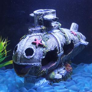 저렴한 장식 침몰 선박 수족관 장식 난파선 침몰 잠수함 물고기 탱크 수경 동굴 장식 무료 배송