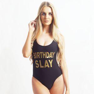 BIRTHDAY SLAY Brief Print Badeanzug-Frauen-Mädchen-Badebekleidung Frauen High Cut Badeanzug Plus Size Monokini Bademode femme