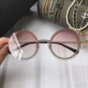Tendencia productos diseñador mujeres gafas de sol de color rosa moda carta redonda patrón vintage negro retro gafas de sol mujeres 4245