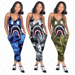 S-3XL Frauen Camo Farbe Strapse Jumpsuit Shark Mund Druck einteilige Hosen arbeiten reizvollen V-Ausschnitt Body Schlank-Hose D52705