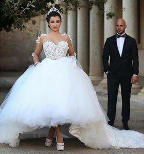 Arapça dedi Mhamad Düğün Dresse Aplikler Balo Sheer Boyun Uzun Kollu Artı Boyutu Lace Up Geri Beyaz Tül Tutular Gelinlikler