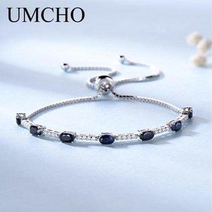 Umcho 2.45ct Natural Luxury Blue Sapphire braccialetto per le donne 925 partito Sterling Silver Jewelry Gemstone romantico regalo di nozze J 190511