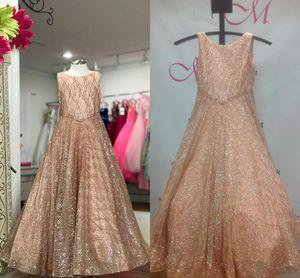 Sparkling Glitter Tulle Pageant Robes Pour Les Filles 2019 4-Couleurs Rose Rose Argent Blanc Bling Bling Petite Fille Fête D'anniversaire Robes Real Pic