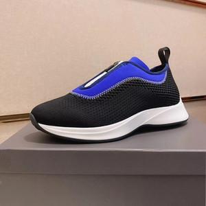 Navy Blue B25 Кроссовки Мужская обувь New Mesh Low Top Технические Инструкторы Мода Chaussures неопрена Слип-на-Zip вверх плоские туфли с коробкой