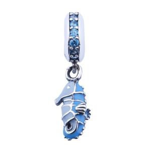 Seahorse tropicali perline ciondola il braccialetto europeo Fits 925 Sterling Silver Teal cristallo verde Animali Di Perle fai da te Fine Jewelry