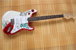 free shipping ST white and red guitar,,maple neck,SSS pickups,basswood body,rosewood fingerboard,pattern body,chrome hardware,signature styl