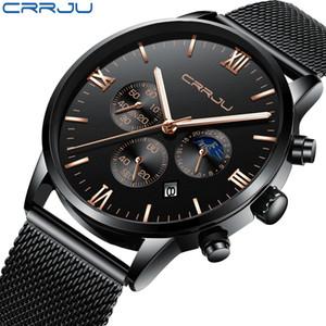 Bussiness Relojes cronógrafo CRRJU los hombres con el acoplamiento de cinturón de deportes de la manera del ejército del cuarzo reloj de los hombres del reloj a prueba de agua Fecha de lujo
