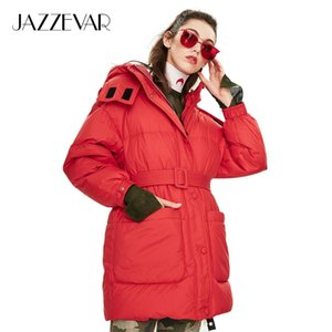 JAZZEVAR 2019 Winter new arrival women down jacket top red color with belt fashion style winter short down coat for women T200107
