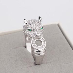 Модного медный Leopard Глава инкрустированного Циркона кольцо золото Леопард украшение кольцо серебро мужское и женское Кольцо Jewellery способа