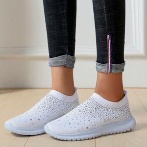 Mujeres hechas punto las zapatillas de deporte de las señoras de la chispa del brillo capacitadores se deslizan en los zapatos del calcetín Tamaño