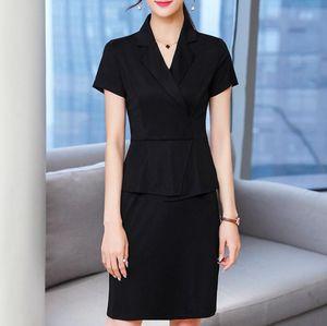 Suit Office Ladies Weard Lavoro formale Business Fashion Design Manica Corta Estate Elegante Black Matita Dress Donne Plus Size