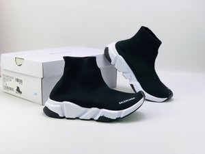 2018 moda infantil Botas velocidade estiramento malha High Top chaussure instrutor Running Shoes velocidade malha Sock Mid-treinador top Sneakers