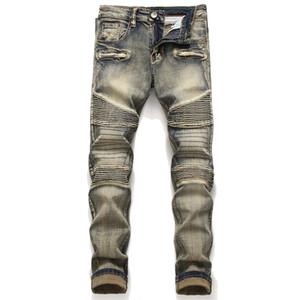 Мужские проблемные разорвал ретро узкие джинсы модельер Slim Fit мотоцикл Мото байкер причинно джинсовые брюки хип-хоп брюки BP1807