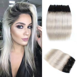 Ombre Bundles de cheveux humains couleur 1B gris foncé / gris argenté / rose brésilienne vierge cheveux raides extensions de 10-18 pouces Remy