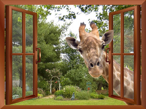 Windows Sticking Window View Curious Giraffe Effect Its Stickers Window Head Wall Into 3D Fake Removable Wall Decal Fhflu