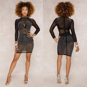Mesh Designer Womens Dress Evening Sexy Party Dresses Bodycon For Lady Clothing Sexy Women Long Sleeve Dress Sheer
