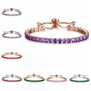 CR joyas circón brazalete de push-pull de cristal brillante, un taladro oro de las señoras de una sola joyería fila libre al por mayor