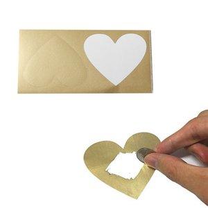 Las etiquetas Forma 100PCS rascar la etiqueta engomada del corazón para la recompensa Inicio Juego de boda Tarjeta de mensajes que casan la tarjeta