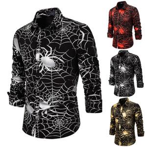 S-2XL hommes occasionnels chemises boutonnées araignées Web manches longues chemises d'affaires Tops mode blouse