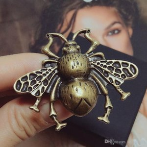 Retro Bee Designer Ring Women Girls Insect Luxury Open Ring with Stamps Famous Jewelry Gift for Love High Quality